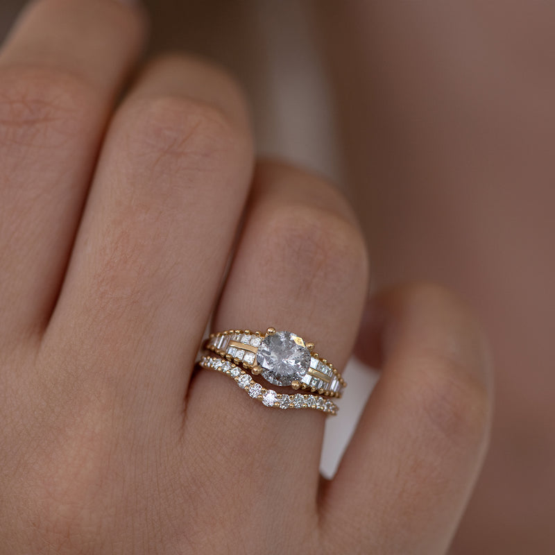 Curved Diamond Wedding Band front view