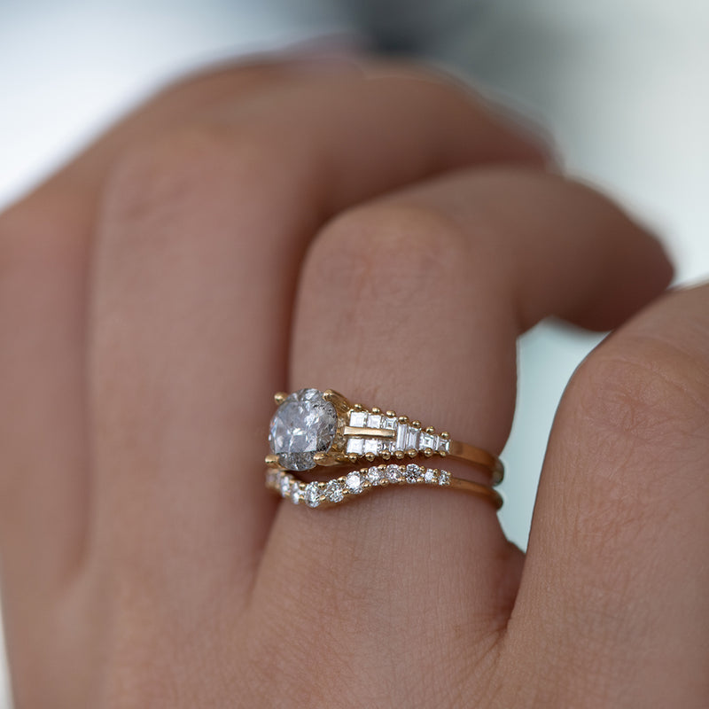 Curved Diamond Wedding Band side veiw