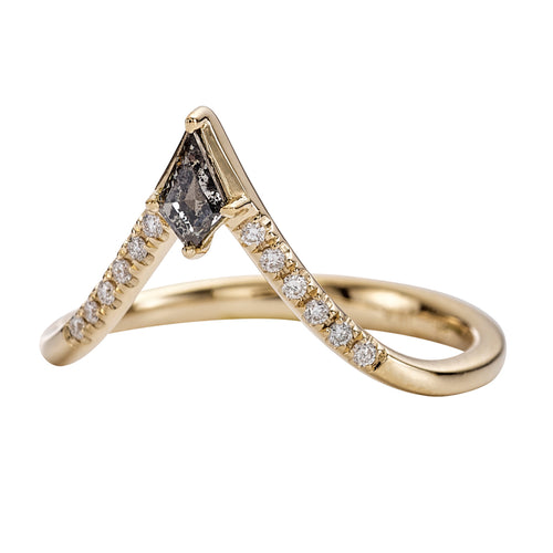 Nesting Kite Diamond Wedding Ring with a Pave Diamond Band
