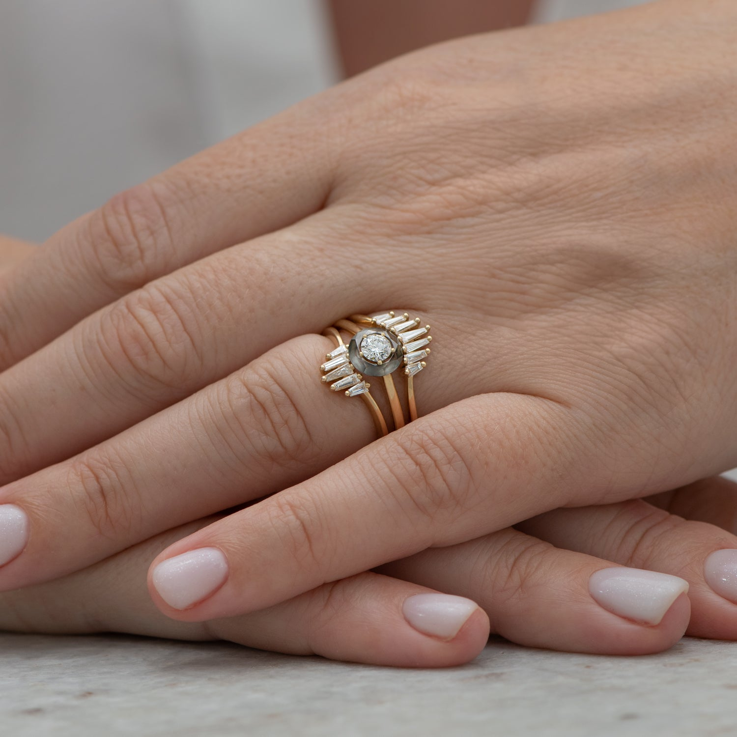 Nesting-Wedding-Ring-with-Baguette-Diamonds-S-set-closeup