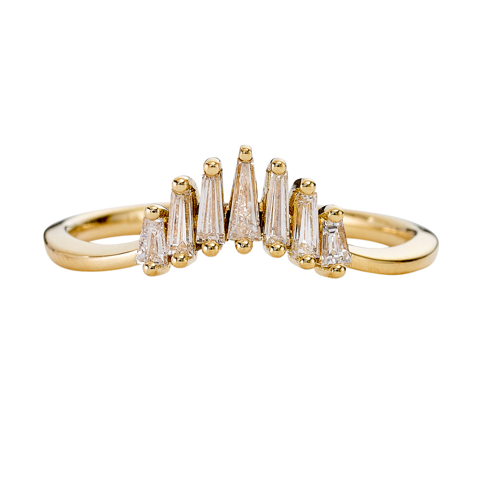 Nesting Wedding Ring with Baguette Diamonds - L