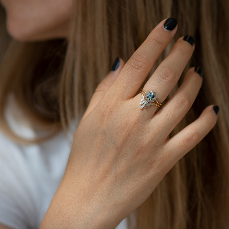Nesting-Wedding-Ring-with-Grey-Baguette-Diamonds-Limited-Edition-on-finger