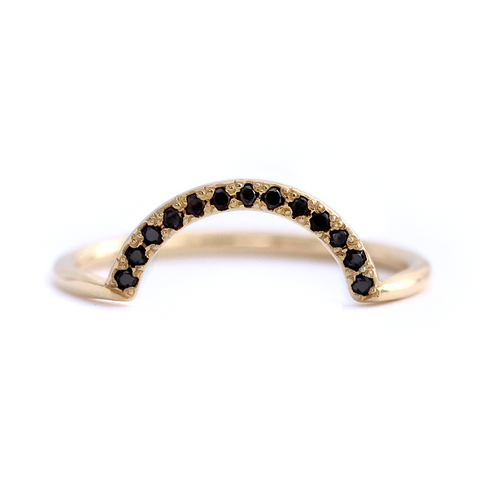 Tiny Black Diamonds Wedding Band