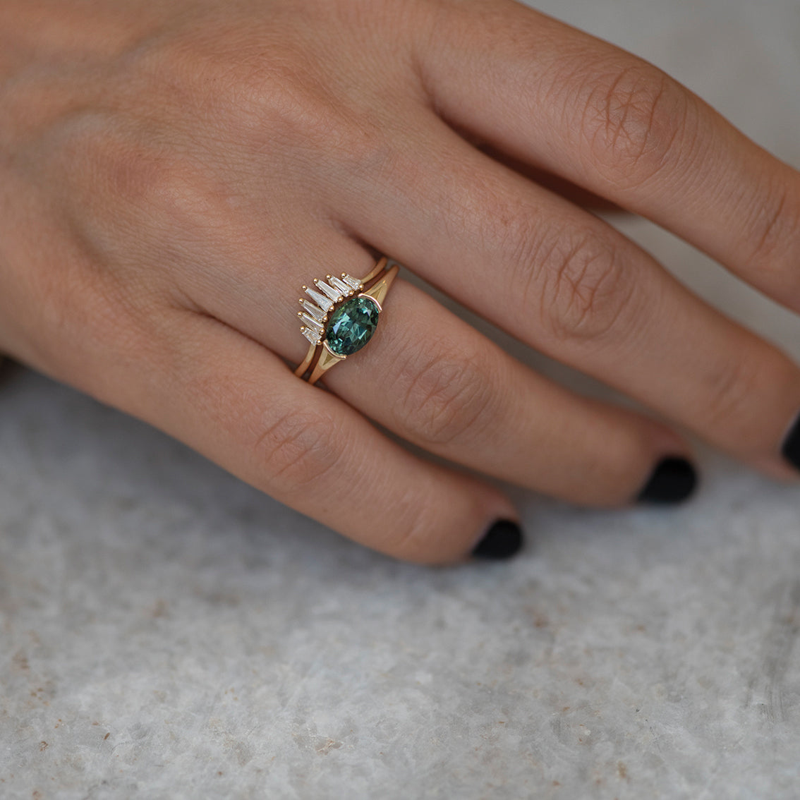 OOAK Solitaire Teal Sapphire Ring - 1.86 carat