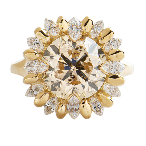 OOAK-Sunflower-Engagment-Ring-with-Champagne-and-White-Diamonds-closeup