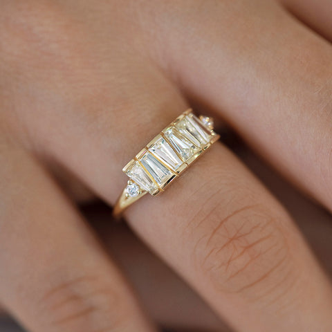 OOAK Tapered Baguette Diamond Lineup Ring on Finger Up Close