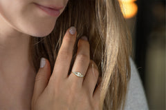 OOAK Baguette Cut Cluster Diamond Ring - Unique Engagement Ring on Hand