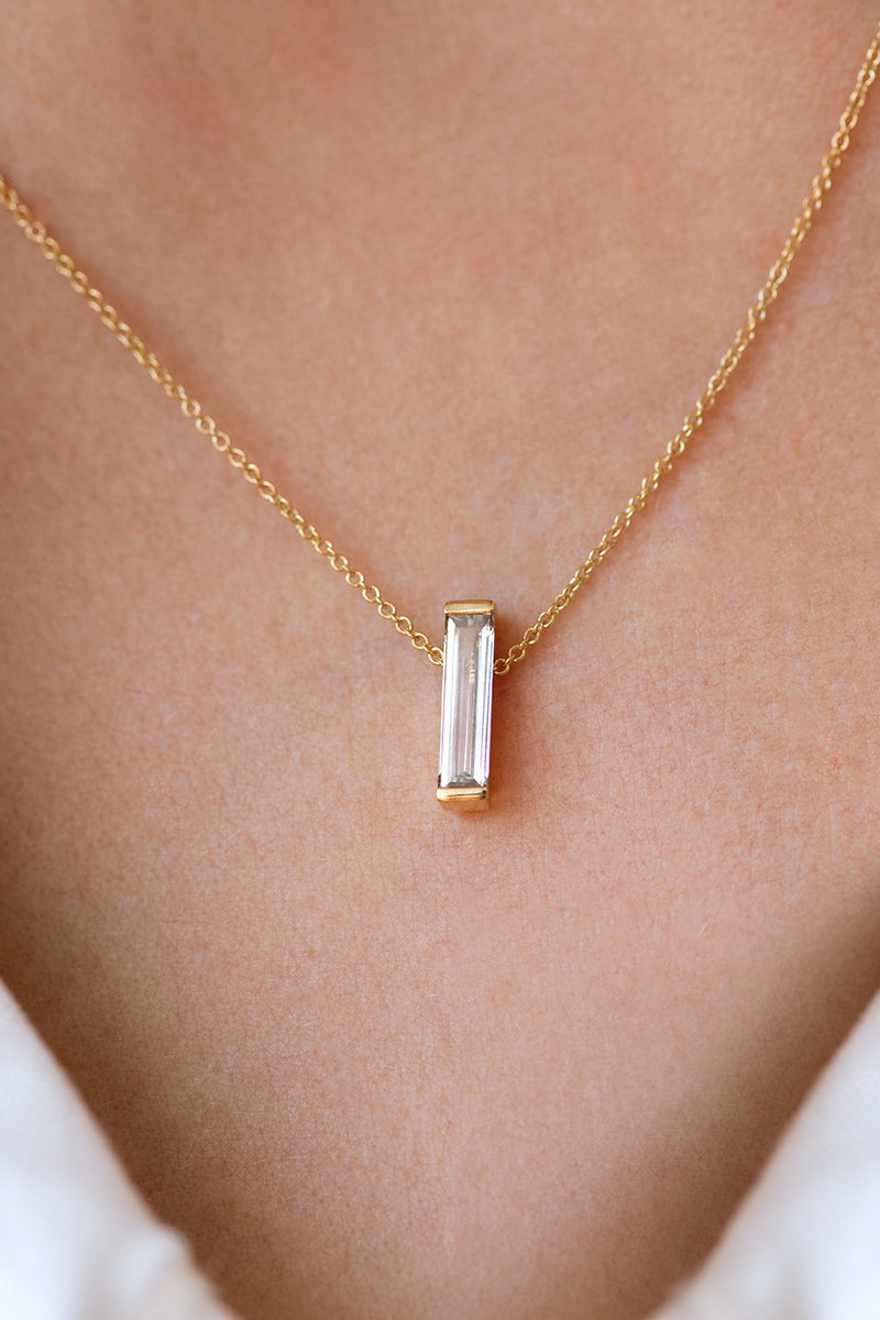 OOAK Baguette Diamond on Necklace on Body up close