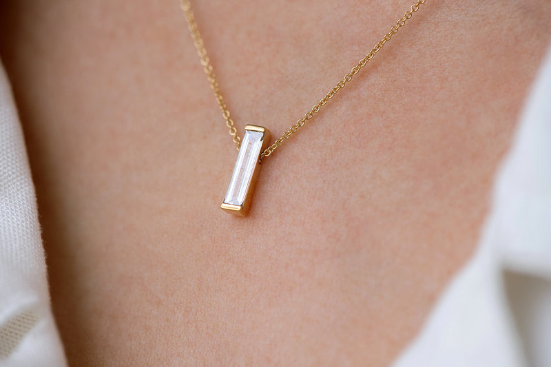 OOAK Baguette Diamond on Necklace on Body other angle from side
