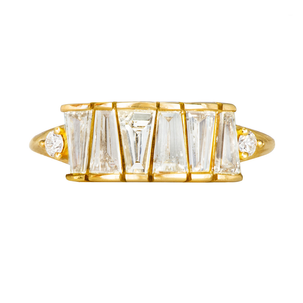 OOAK Tapered Baguette Diamond Lineup Ring on White