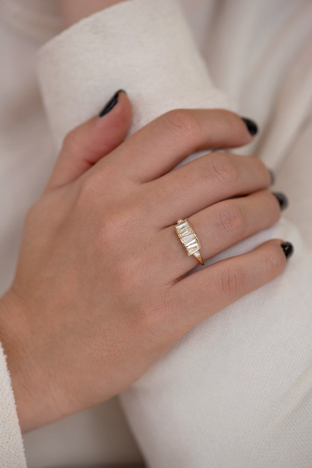 OOAK Tapered Baguette Diamond Lineup Ring on Hand and Arm