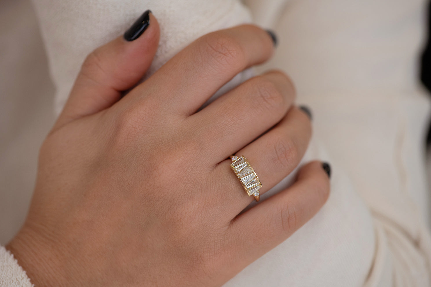 OOAK Tapered Baguette Diamond Lineup Ring Detailed Shot on Hand