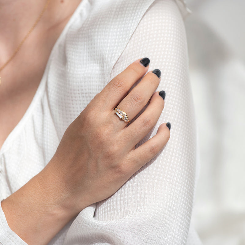 Gliding Tapered Baguette Cluster Ring only hand