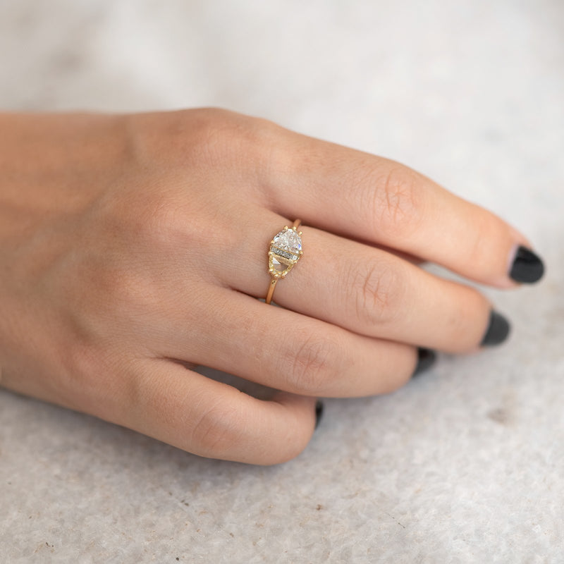 Half Moon Cut Engagement Ring with White, Yellow and Grey Diamonds table