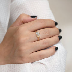Half Moon Cut Engagement Ring with White, Yellow and Grey Diamonds shoulder