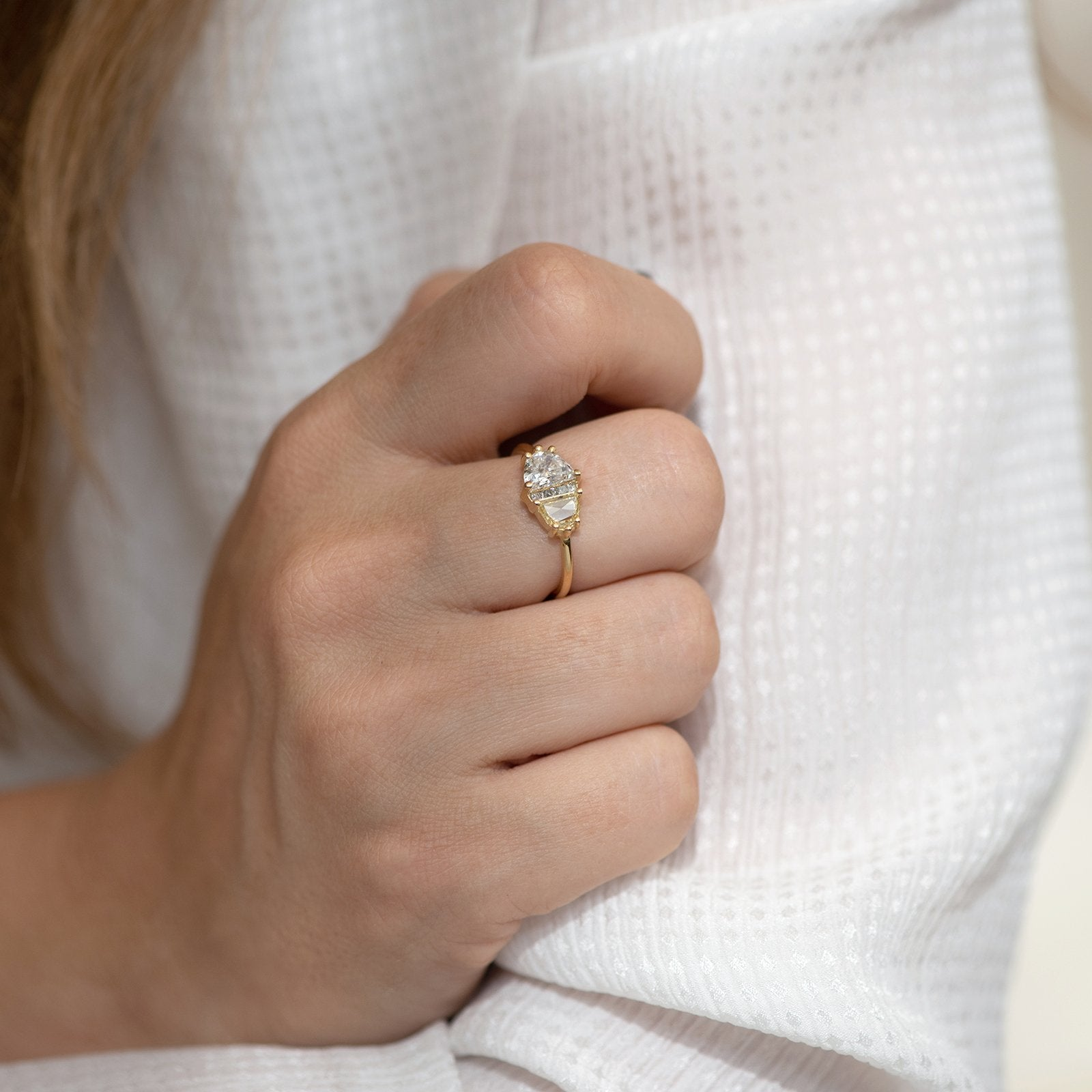 Half Moon Cut Engagement Ring with White, Yellow and Grey Diamonds shoulder finger