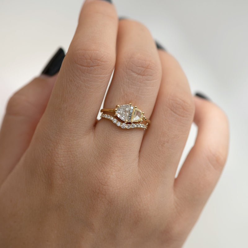 Half Moon Cut Engagement Ring with White, Yellow and Grey Diamonds shoulder both fingers