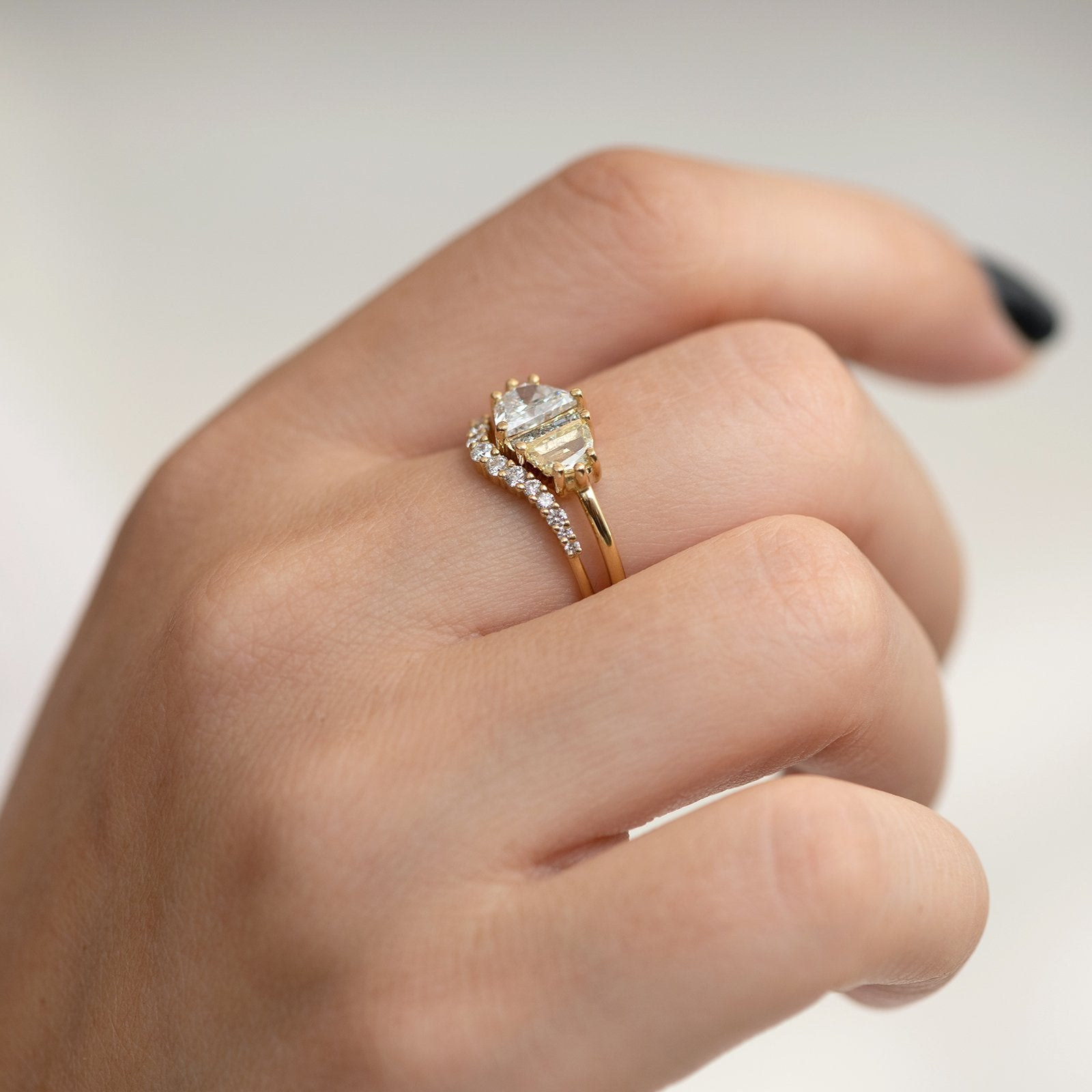 Half Moon Cut Engagement Ring with White, Yellow and Grey Diamonds two rings