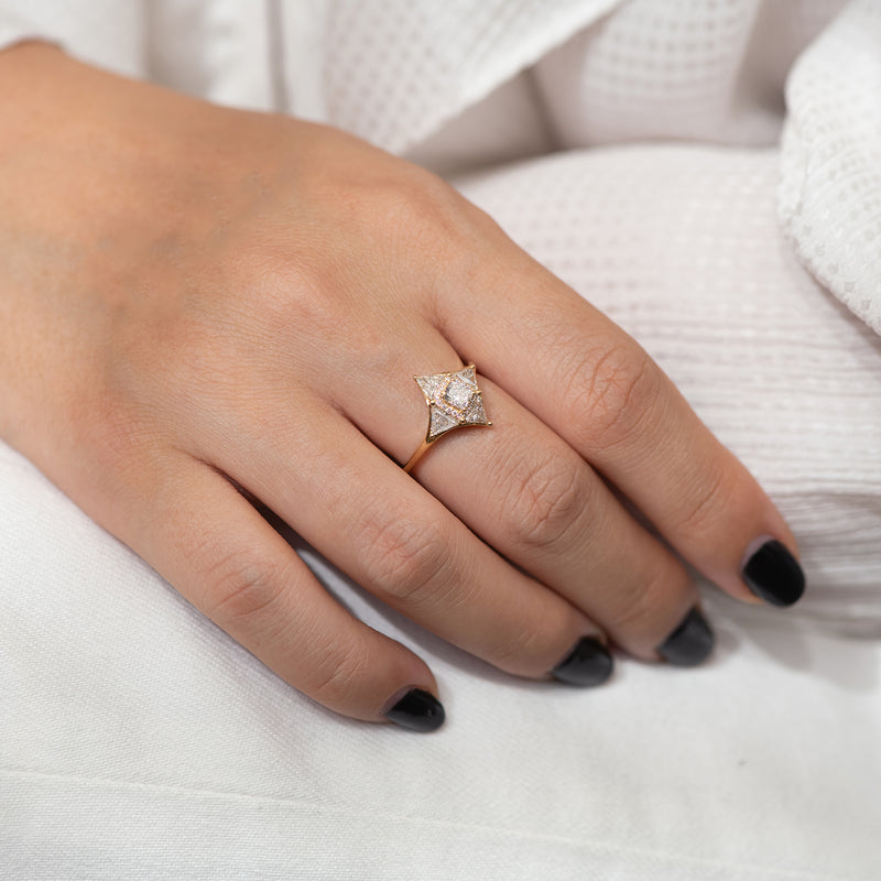 Vintage Style Triangle Diamond Star Ring3