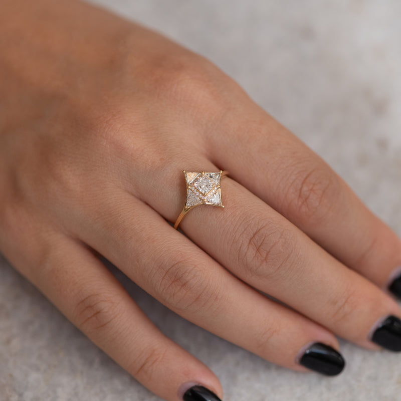 Vintage Style Triangle Diamond Star Ring5