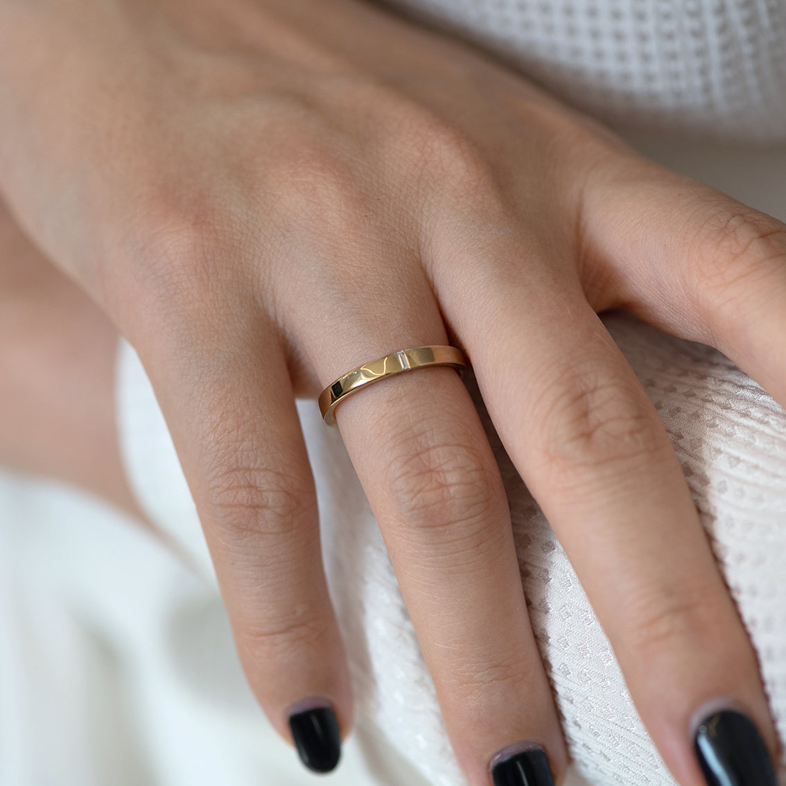Baguette Wedding Band - Hers on finger