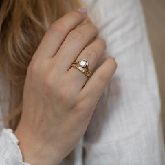Moon Wedding Ring - Thick on finger with ring
