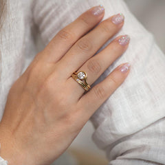 Moon Wedding Ring - Thick on finger with double ring
