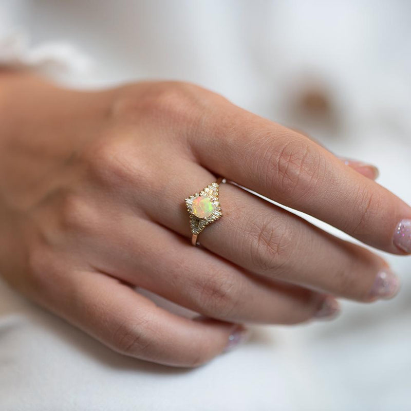 Opal Engagement Ring with Baguette Diamonds1