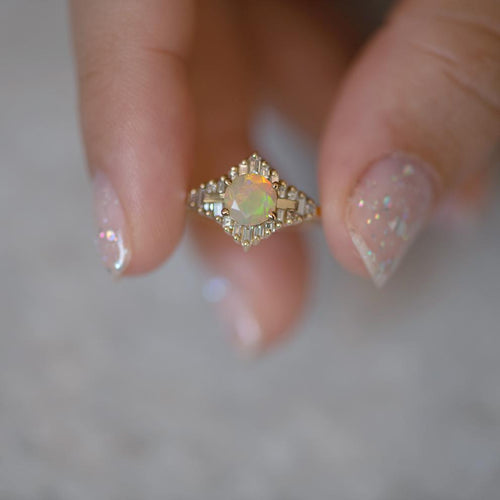 Opal Engagement Ring with Baguette Diamonds6