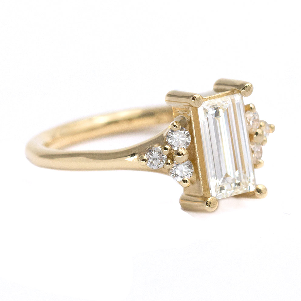 One Carat Baguette Diamond Engagement Ring In Gold
