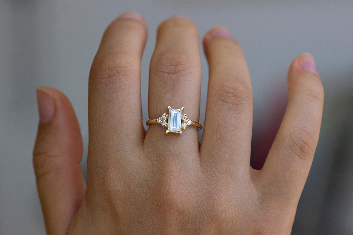 One Carat Baguette Diamond Engagement Ring On Hand