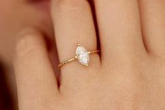Marquise Cut Engagement Ring On Hand