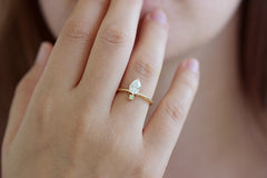 One Carat Diamond With Tiny Mint Garnet Ring On Hand