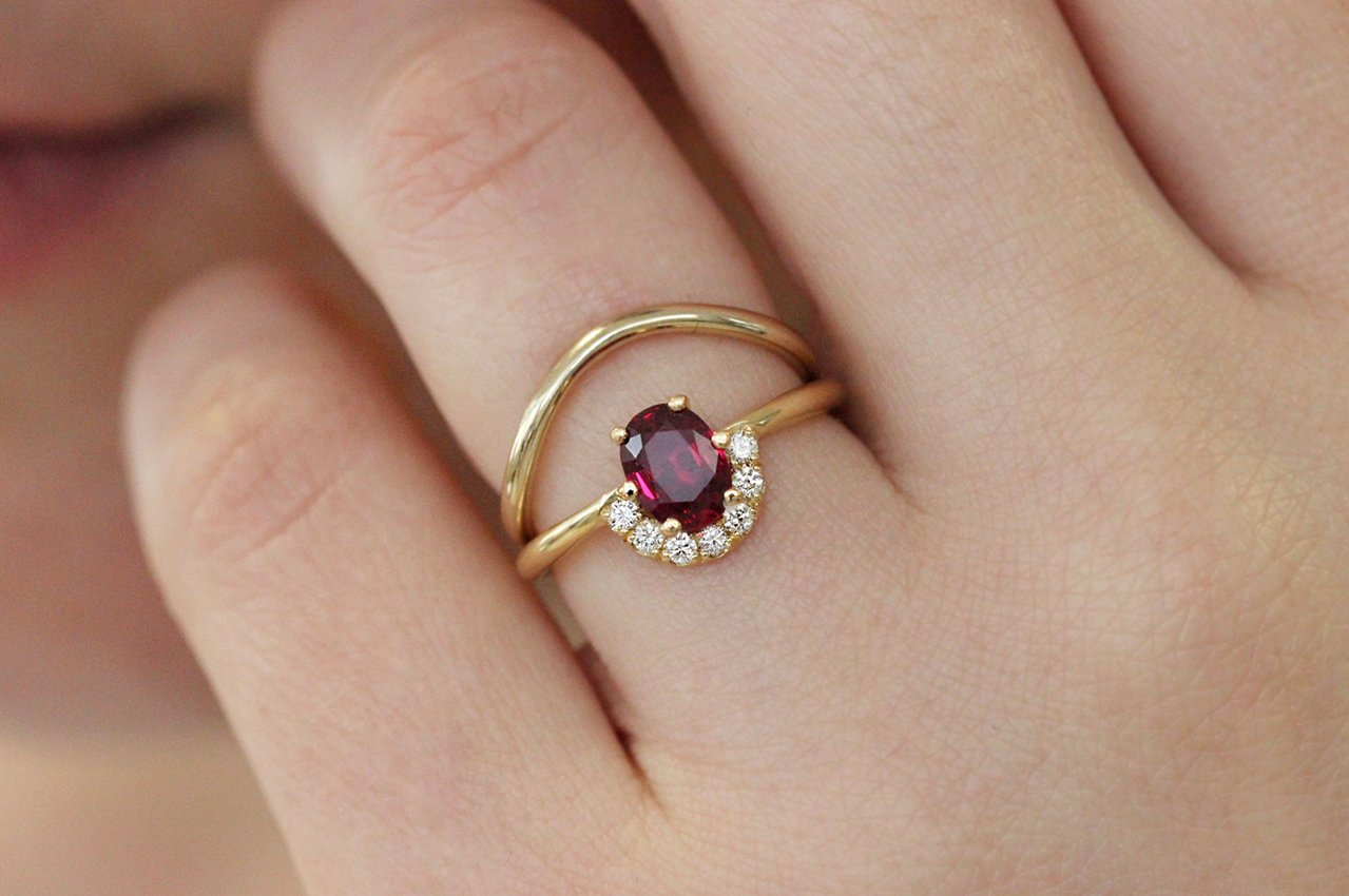 One Carat Ruby And Diamonds Engagement Ring In A Set