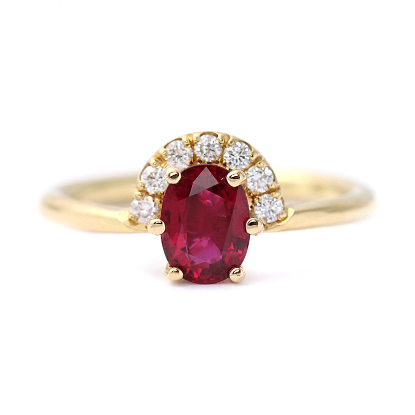 One Carat Ruby And Diamonds Engagement Ring