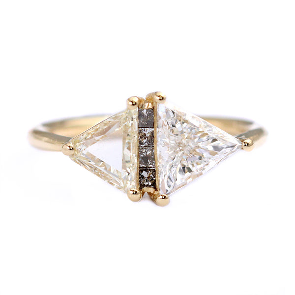 One Carat Trillion Cut Diamond Engagement Ring Fancy