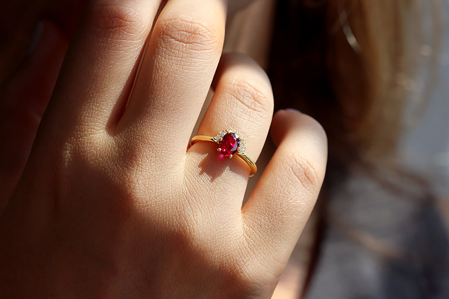 One Carat Ruby And Diamonds Engagement Ring - Diamonds Crown Ring