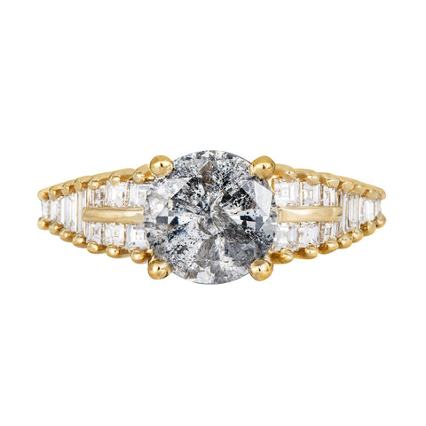 One Carat Diamond Ring with a Snowy Diamond