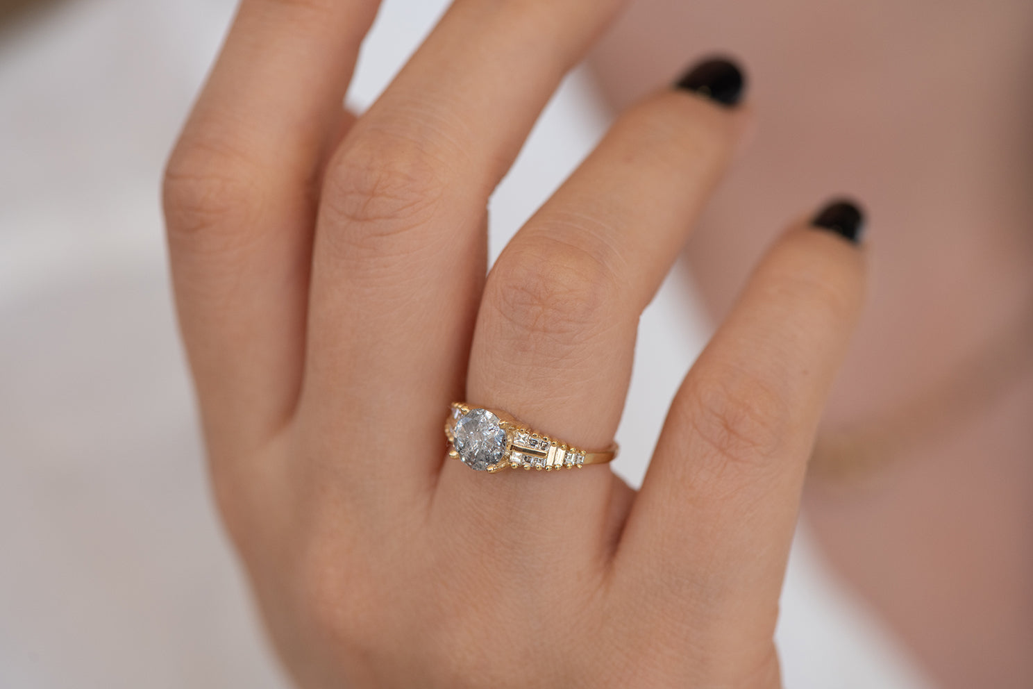 One Carat Diamond Ring with a Snowy Diamond on Hand side top down view