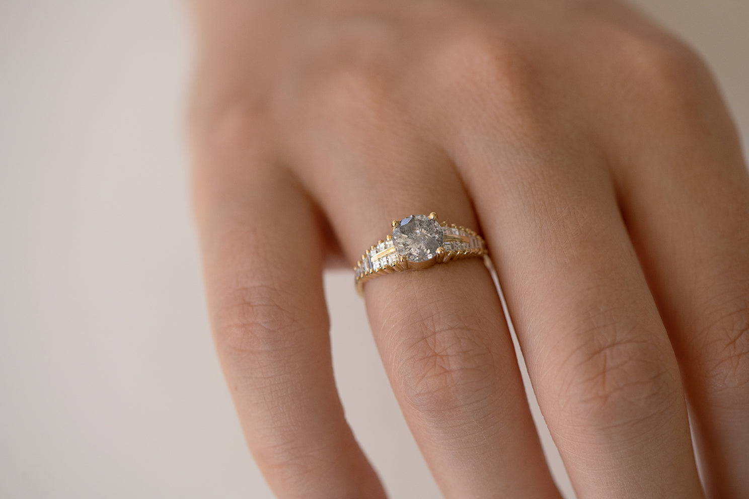 One Carat Diamond Ring with a Snowy Diamond on Hand lower angle