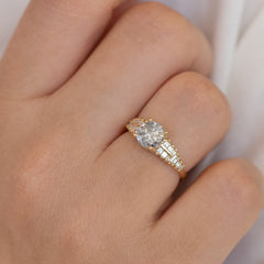 One Carat Diamond Ring with a Snowy Diamond on Hand up close detail shot