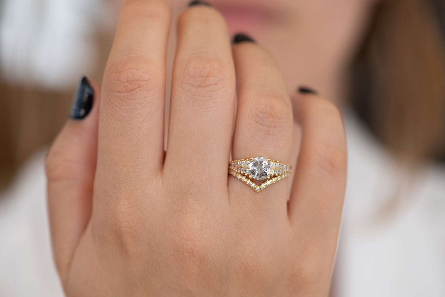One Carat Diamond Ring with a Snowy Diamond on Hand front shot detail view