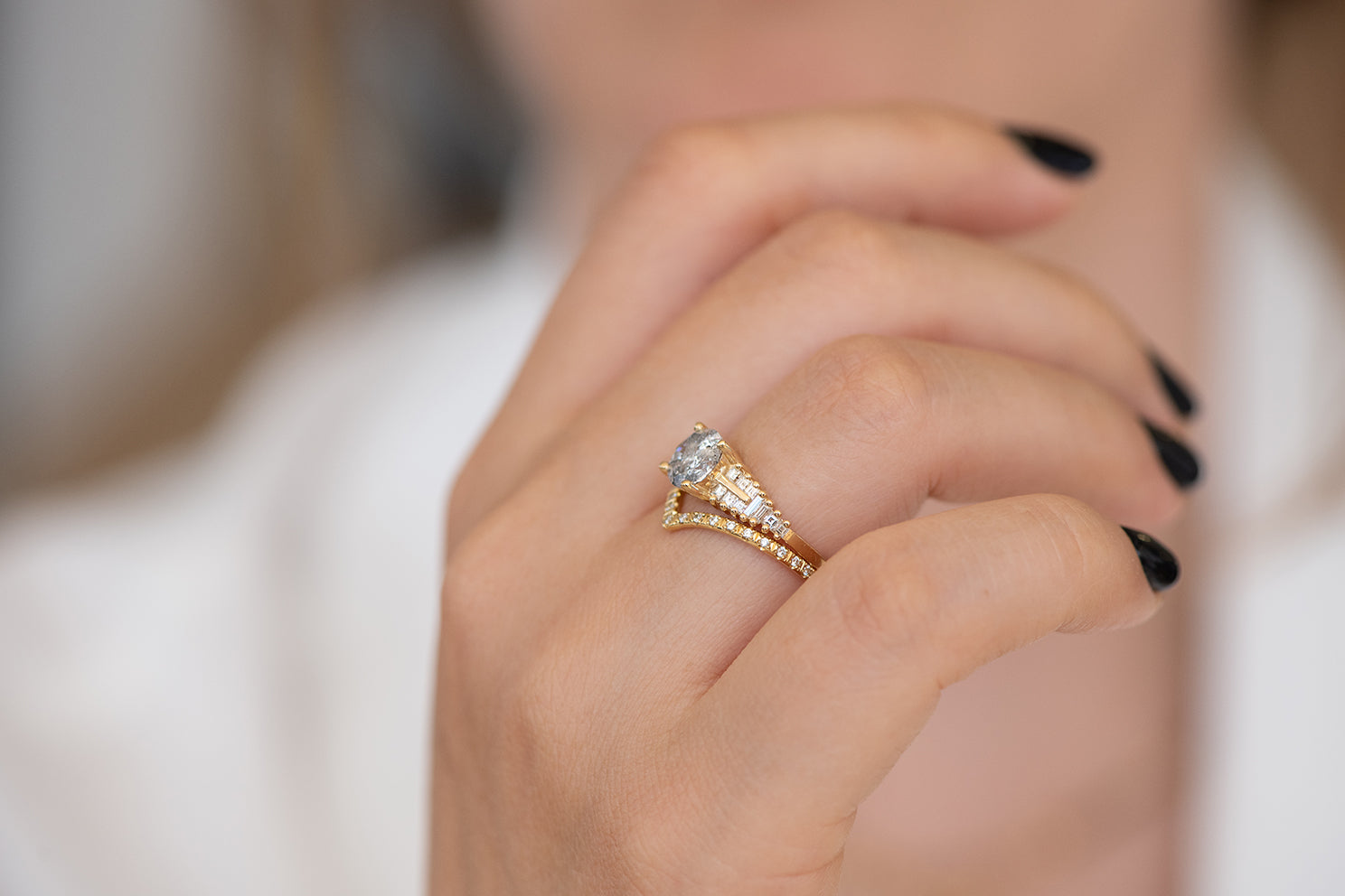 One Carat Diamond Ring with a Snowy Diamond on Hand in set side view