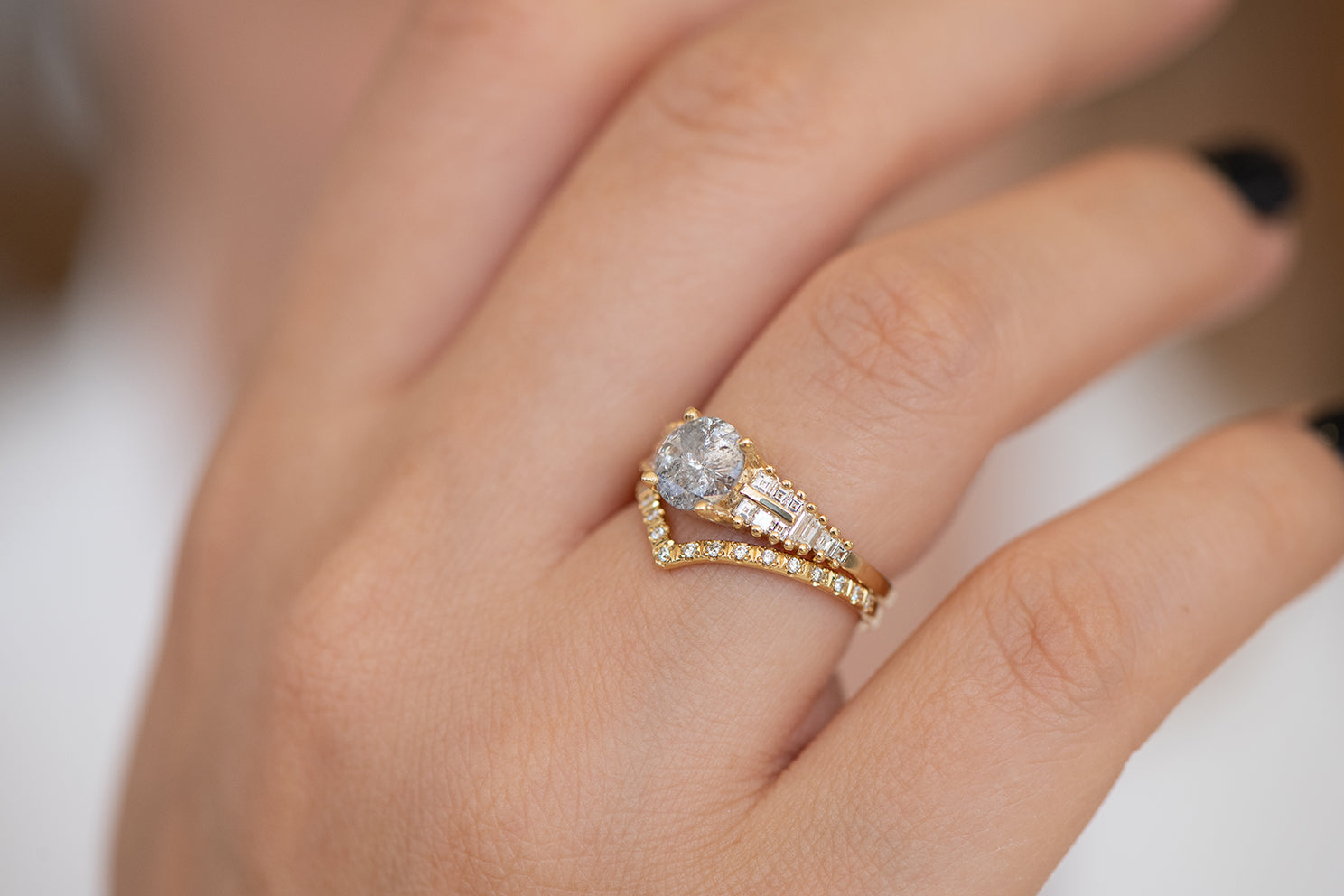 One Carat Diamond Ring with a Snowy Diamond on Hand in set up close