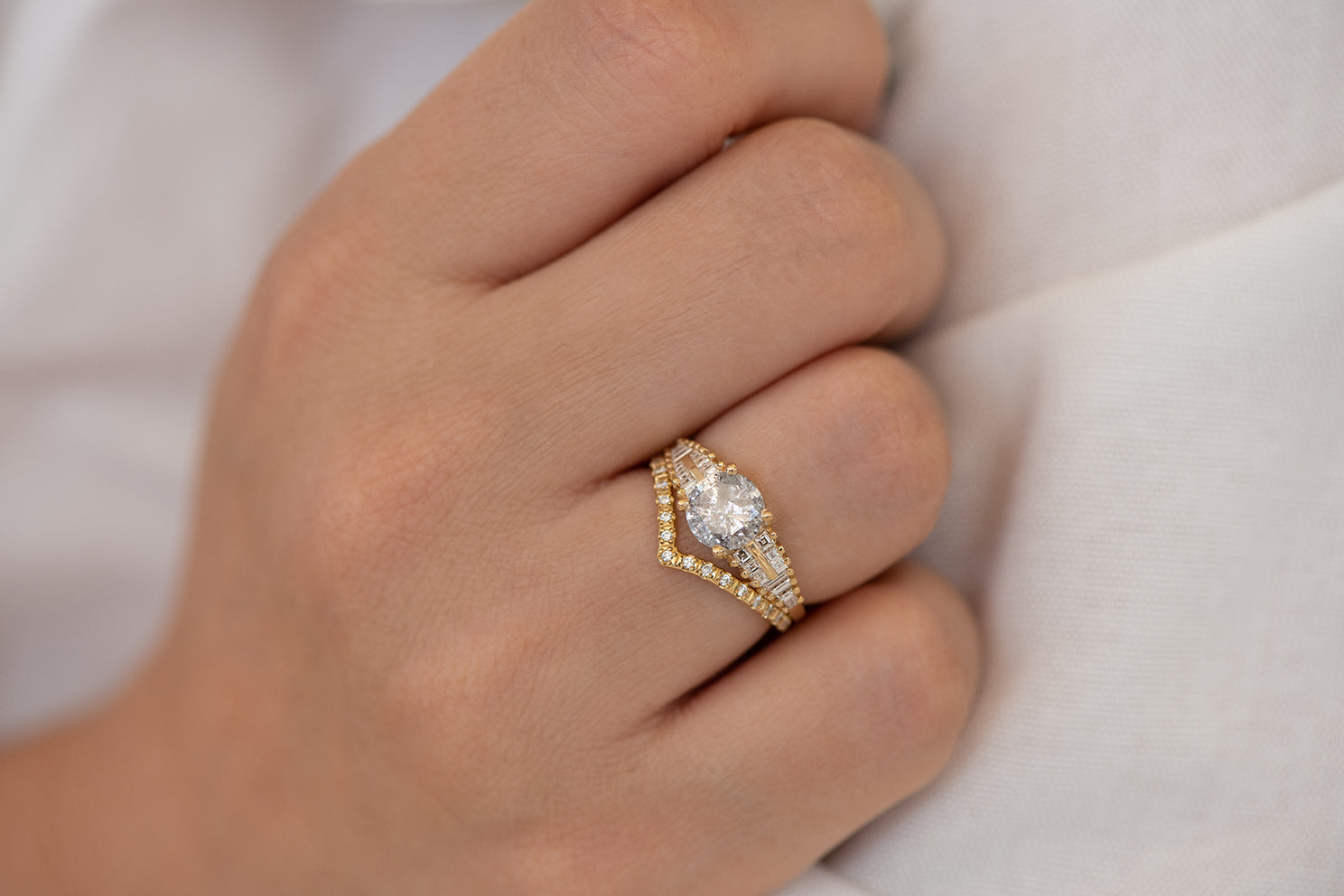One Carat Diamond Ring with a Snowy Diamond on Hand in set front view