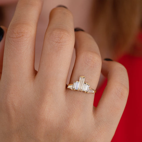 One of A Kind Baguette Diamond Tower Ring on Hand détail shot