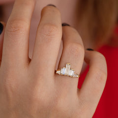 One of A Kind Baguette Diamond Tower Ring on Hand detail shot