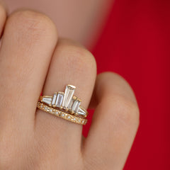 One of A Kind Baguette Diamond Tower Ring on Hand in set up close