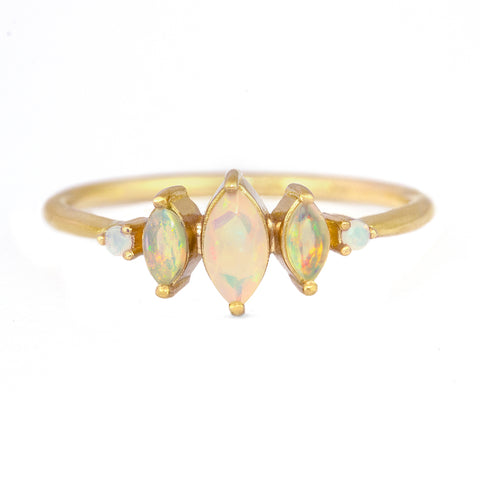 Opal Engagement Ring - Three Marquise Opal Ring