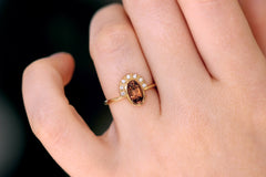 oval cut brown sapphire ring